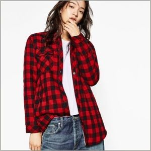 Zara~ Shearling Plaid button Shirt Jacket ~ L